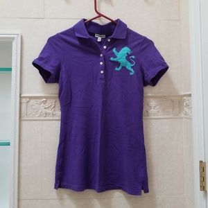 Women's Express Purple Polo with Big Teal Lion XS